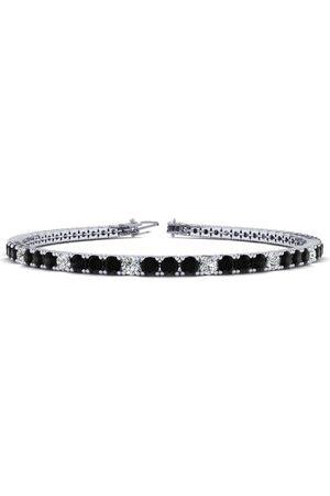 SuperJeweler 9 Inch 5 Carat Black & White Diamond Alternating Men's Tennis Bracelet in 14K (12.1 g)