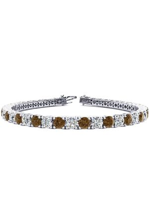 SuperJeweler 9 Inch 11 3/4 Carat Chocolate Bar Brown Champagne & White Diamond Men's Tennis Bracelet in 14K (15.4 g)