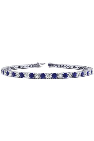 SuperJeweler 9 Inch 6 Carat Sapphire & Diamond Men's Tennis Bracelet in 14K (12.1 g)