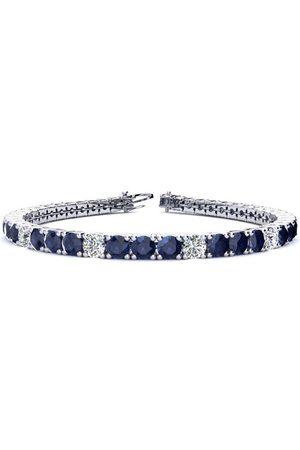 SuperJeweler 9 Inch 15 1/2 Carat Sapphire & Diamond Alternating Men's Tennis Bracelet in 14K (15.4 g)