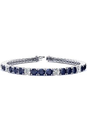 SuperJeweler 7.5 Inch 12 3/4 Carat Sapphire & Diamond Alternating Men's Tennis Bracelet in 14K (12.9 g)