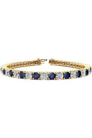 SuperJeweler 8 Inch 12 3/4 Carat Sapphire & Diamond Men's Tennis Bracelet in 14K (13.7 g)