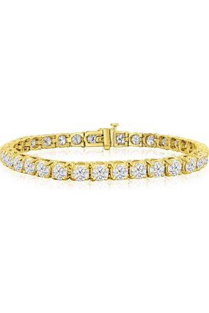 SuperJeweler 8.5 Inch 14K (17 g) 13 1/2 Carat TDW Round Diamond Men's Tennis Bracelet (