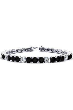 SuperJeweler 8.5 Inch 11 1/5 Carat Black & White Diamond Alternating Men's Tennis Bracelet in 14K (14.6 g)