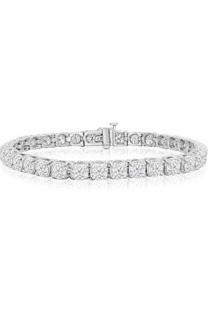 SuperJeweler 7.5 Inch 14K (17 g) 12 Carat TDW Round Diamond Men's Tennis Bracelet (