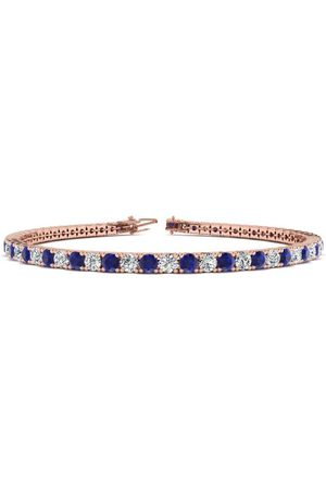 SuperJeweler 8 Inch 5 Carat Sapphire & Diamond Men's Tennis Bracelet in 14K (10.7 g)