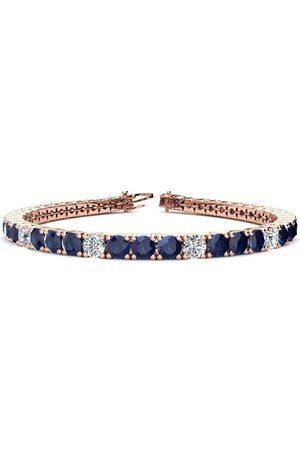 SuperJeweler 7.5 Inch 12 3/4 Carat Sapphire & Diamond Alternating Men's Tennis Bracelet in 14K (12.9 g)