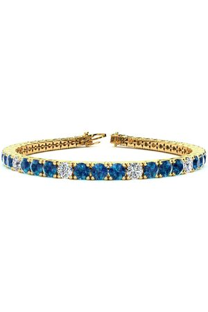 SuperJeweler 7.5 Inch 9 3/4 Carat Blue & White Diamond Alternating Men's Tennis Bracelet in 14K (12.9 g)