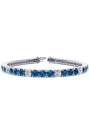 SuperJeweler 7.5 Inch 9 3/4 Carat Blue & White Diamond Alternating Men's Tennis Bracelet in 14K (12.9 g)