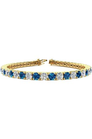 SuperJeweler 9 Inch 11 3/4 Carat Blue & White Diamond Men's Tennis Bracelet in 14K (15.4 g)