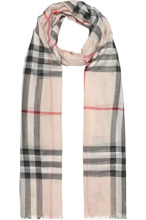 Burberry Check wool and silk gauze scarf
