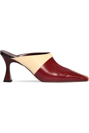 MANU 80mm City Leather Tricolor Mules