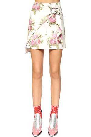 Paco rabanne Printed Cotton Blend Wrap Mini Skirt