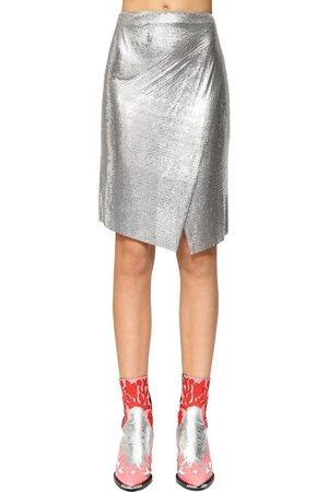 Paco rabanne Asymmetric Metal Mesh Wrap Skirt