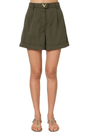 VALENTINO Metal V Logo Cotton Canvas Shorts