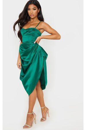 PRETTYLITTLETHING Emerald Satin Woven Ruched Side Midi Skirt