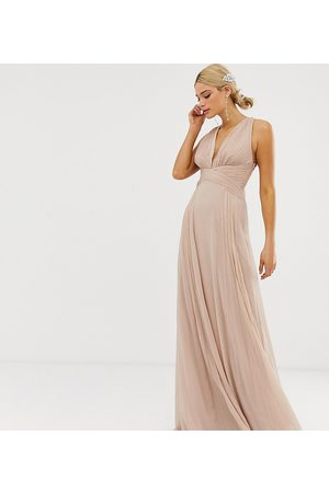 ASOS ASOS DESIGN Tall Bridesmaid ruched bodice drape maxi dress with wrap waist