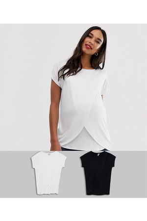 ASOS ASOS DESIGN Maternity nursing 2 pack t-shirt in black and white-Multi