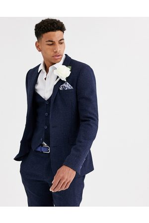 ASOS Wedding super skinny suit jacket in wool blend mini check
