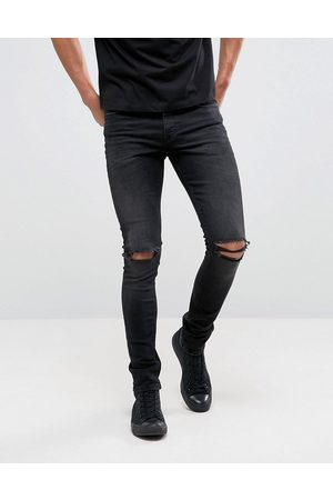 ASOS Super skinny 12.5oz jeans with knee rips in washed