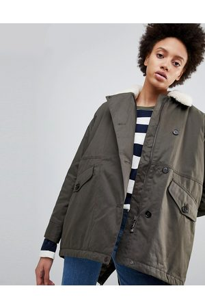 Parka Zoe Swing Parka Coat with Fleece Collar