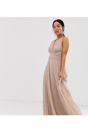 ASOS ASOS DESIGN Petite Bridesmaid ruched bodice drape maxi dress with wrap waist