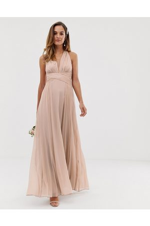 ASOS Bridesmaid ruched bodice drape maxi dress with wrap waist