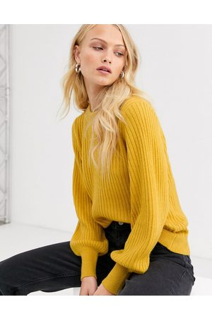 Selected Femme ribbed sweater with balloon sleeve
