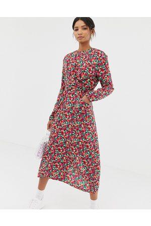 Ghospell Midi dress with tie waist in vintage floral
