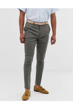 ASOS Super skinny smart pants in gray dog tooth-Grey