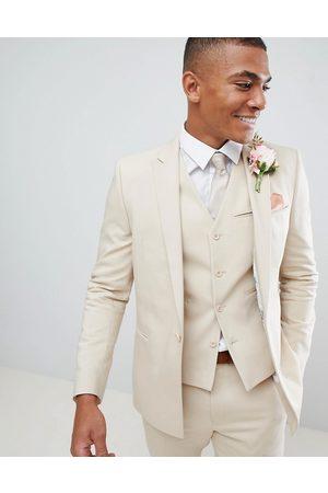 ASOS Wedding skinny suit jacket with square hem in stone