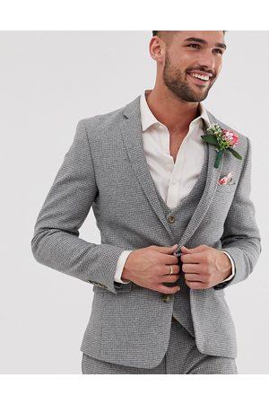 ASOS Wedding super skinny suit jacket in micro houndstooth