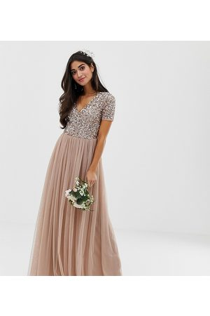 Maya Bridesmaid v neck maxi tulle dress with tonal delicate sequins in taupe blush