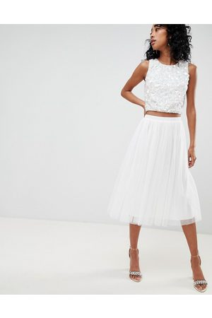 Lace & Beads Tulle midi skirt in