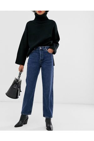 SELECTED Femme high waist straight leg jeans in wash
