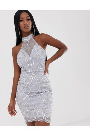 Lipsy London High neck sequin dress in sliver