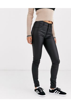 Dr Denim Solitaire super high waist leather look super skinny jean