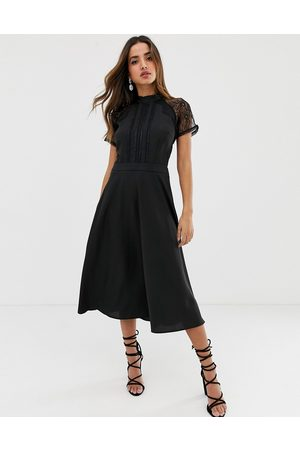 Liquorish Women Midi Dresses - A line lace detail midi dress