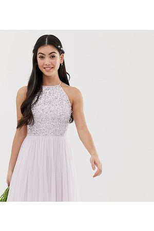 Maya Bridesmaid halter neck mini tulle dress with tonal delicate sequins in soft lilac