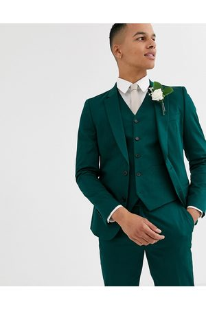 ASOS Wedding skinny suit jacket in cotton in forest