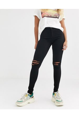 Dr Denim Lexy mid rise second skin super skinny ripped knee jeans