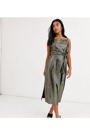 Y.A.S Metallic sleeveless wrap dress with tie waist