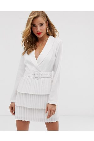 In The Style X Dani Dyer plunge front blazer dress with pleated skirt in
