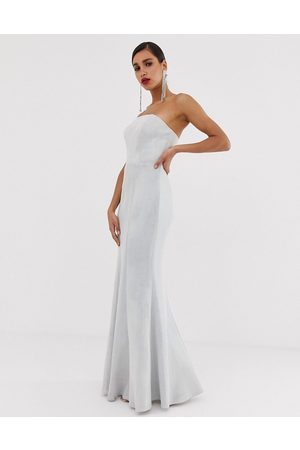 Bariano Strapless fishtail gown with detachable skirt detail in glitter