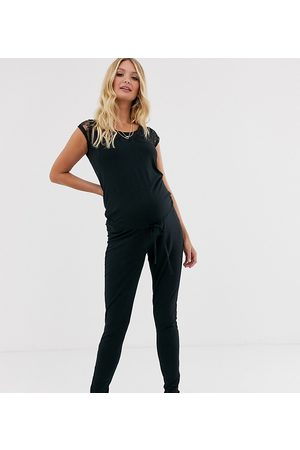 Mama Licious Mamalicious maternity jersey jumpsuit with lace detail