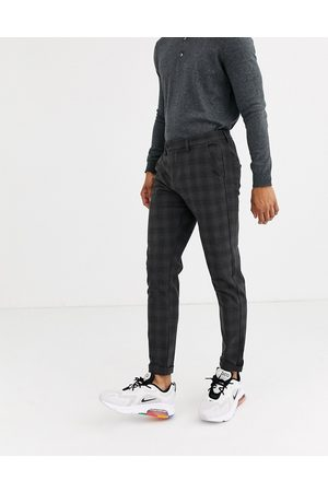 JACK & JONES Intelligence smart check pants in -Grey