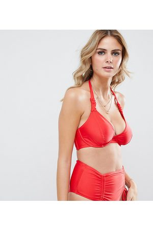 Wolf & Whistle Fuller Bust Exclusive strung and gathered underwired halter bikini top in