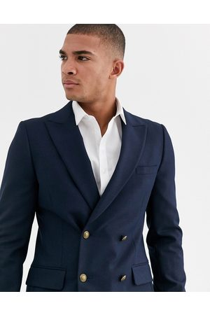 ASOS Skinny double breasted blazer with gold button in navy