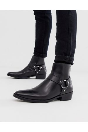 ASOS Stacked heel western chelsea boots in leather with buckle detail