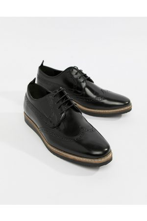 ASOS Brogue shoes in leather with wedge sole